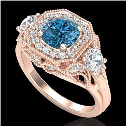 2.11 CTW Intense Blue Diamond Solitaire Art Deco 3 Stone Ring 18K Rose Gold - REF-283Y6K - 38301