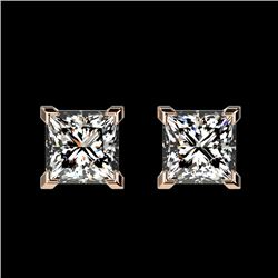 1 CTW Certified VS/SI Quality Princess Diamond Stud Earrings 10K Rose Gold - REF-147A2X - 33064