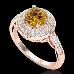 1.7 CTW Intense Fancy Yellow Diamond Engagement Art Deco Ring 18K Rose Gold - REF-254Y5K - 38128