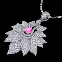 3 CTW Pink Sapphire & Micro Pave VS/SI Diamond Designer Necklace 18K White Gold - REF-257A3X - 22567