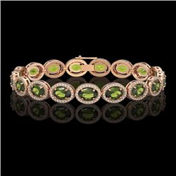 21.71 CTW Tourmaline & Diamond Halo Bracelet 10K Rose Gold - REF-338N9Y - 40623