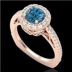 1.55 CTW Fancy Intense Blue Diamond Solitaire Art Deco Ring 18K Rose Gold - REF-178A2X - 37986