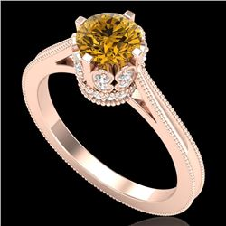 1.14 CTW Intense Fancy Yellow Diamond Engagement Art Deco Ring 18K Rose Gold - REF-136K4W - 37344