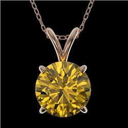 1.50 CTW Certified Intense Yellow SI Diamond Solitaire Necklace 10K Rose Gold - REF-285H2A - 33229