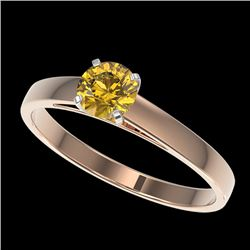 0.54 CTW Certified Intense Yellow SI Diamond Solitaire Engagement Ring 10K Rose Gold - REF-63Y8K - 3