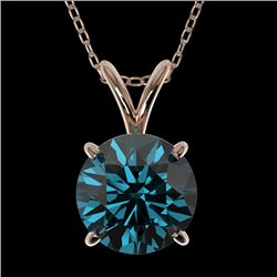 1.50 CTW Certified Intense Blue SI Diamond Solitaire Necklace 10K Rose Gold - REF-202H5A - 33227