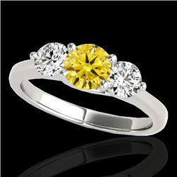 2 CTW Certified Si/I Fancy Intense Yellow Diamond 3 Stone Solitaire Ring 10K White Gold - REF-281H8A