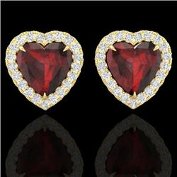 2.22 CTW Garnet & Micro Pave VS/SI Diamond Earrings Heart Halo 14K Yellow Gold - REF-43X6T - 21206