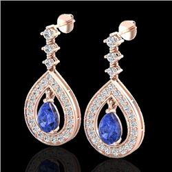 2.25 CTW Tanzanite & Micro Pave VS/SI Diamond Earrings Designer 14K Rose Gold - REF-109H3A - 23158