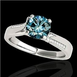 1.18 CTW Si Certified Fancy Blue Diamond Solitaire Ring 10K White Gold - REF-163H6A - 35287