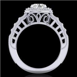 1.53 CTW VS/SI Diamond Art Deco Ring 18K White Gold - REF-454A5X - 36959