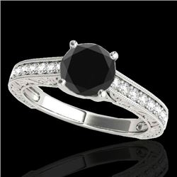 1.32 CTW Certified VS Black Diamond Solitaire Ring 10K White Gold - REF-57N3Y - 34946