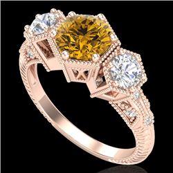 1.66 CTW Intense Fancy Yellow Diamond Art Deco 3 Stone Ring 18K Rose Gold - REF-254F5N - 38058