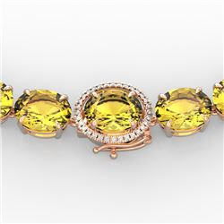 175 CTW Citrine & VS/SI Diamond Halo Micro Solitaire Necklace 14K Rose Gold - REF-535F5N - 22291