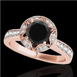 1.5 CTW Certified VS Black Diamond Solitaire Halo Ring 10K Rose Gold - REF-77M3H - 34233