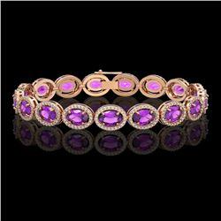 19.82 CTW Amethyst & Diamond Halo Bracelet 10K Rose Gold - REF-249Y5K - 40641