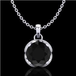 1.13 CTW Fancy Black Diamond Solitaire Art Deco Stud Necklace 18K White Gold - REF-94X5T - 37422