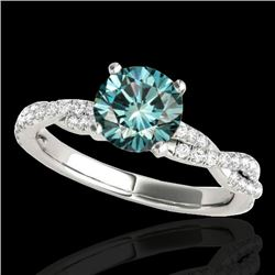 1.25 CTW Si Certified Fancy Blue Diamond Solitaire Ring 10K White Gold - REF-152M5H - 35237