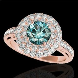 2.25 CTW Si Certified Fancy Blue Diamond Solitaire Halo Ring 10K Rose Gold - REF-218F2N - 34208
