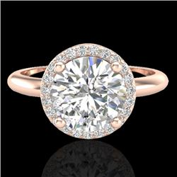 2 CTW Micro Pave VS/SI Diamond Ring Designer Halo 14K Rose Gold - REF-948Y2K - 23210