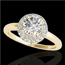 1.43 CTW H-SI/I Certified Diamond Solitaire Halo Ring 10K Yellow Gold - REF-169X3T - 33663
