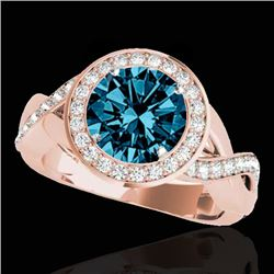 1.75 CTW Si Certified Fancy Blue Diamond Solitaire Halo Ring 10K Rose Gold - REF-197T8M - 33273