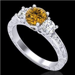 1.41 CTW Intense Fancy Yellow Diamond Art Deco 3 Stone Ring 18K White Gold - REF-180X2T - 37763