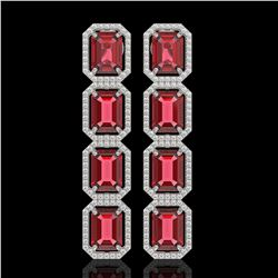 19.44 CTW Tourmaline & Diamond Halo Earrings 10K White Gold - REF-290Y9K - 41588