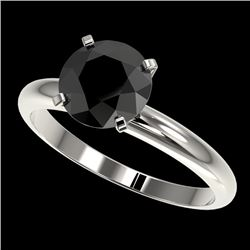 2 CTW Fancy Black VS Diamond Solitaire Engagement Ring 10K White Gold - REF-54Y2K - 32935