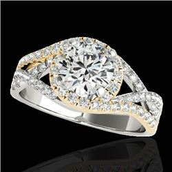 1.5 CTW H-SI/I Certified Diamond Solitaire Halo Ring 10K White & Yellow Gold - REF-263M6H - 33834