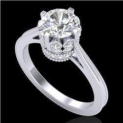 1.5 CTW VS/SI Diamond Art Deco Ring 18K White Gold - REF-399N3Y - 36830