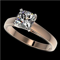 1.25 CTW Certified VS/SI Quality Cushion Cut Diamond Solitaire Ring 10K Rose Gold - REF-372T3M - 330
