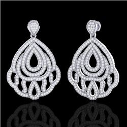 3 CTW Micro Pave VS/SI Diamond Earrings Designer 18K White Gold - REF-280H2A - 21147