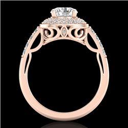 1.7 CTW VS/SI Diamond Solitaire Art Deco Ring 18K Rose Gold - REF-436Y4K - 37254