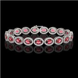 13.87 CTW Tourmaline & Diamond Halo Bracelet 10K White Gold - REF-271K6W - 40469