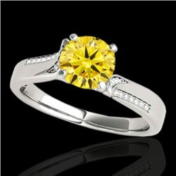 1.18 CTW Certified Si/I Fancy Intense Yellow Diamond Solitaire Ring 10K White Gold - REF-218Y2K - 35