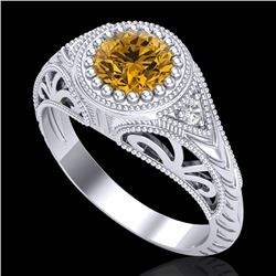 1.07 CTW Intense Fancy Yellow Diamond Engagement Art Deco Ring 18K White Gold - REF-200W2F - 37476
