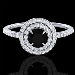 1 CTW Micro Pave VS/SI Diamond Solitaire Ring Double Halo 18K White Gold - REF-70F8N - 21609