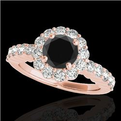 1.75 CTW Certified VS Black Diamond Solitaire Halo Ring 10K Rose Gold - REF-89T3M - 34163