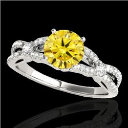 1.35 CTW Certified Si/I Fancy Intense Yellow Diamond Solitaire Ring 10K White Gold - REF-167T3M - 35