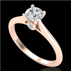 0.56 CTW VS/SI Diamond Solitaire Art Deco Ring 18K Rose Gold - REF-106A8X - 37281