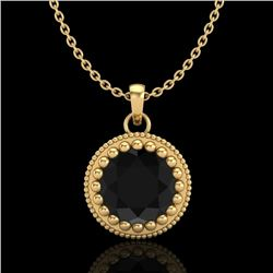 1 CTW Fancy Black Diamond Solitaire Art Deco Stud Necklace 18K Yellow Gold - REF-50W9F - 37487