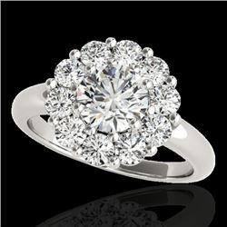 2.09 CTW H-SI/I Certified Diamond Solitaire Halo Ring 10K White Gold - REF-250T9M - 34423