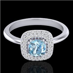 1.16 CTW Sky Blue Topaz & Micro VS/SI Diamond Ring Solitaire Halo 18K White Gold - REF-70H2A - 21023