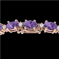 25.8 CTW Amethyst & VS/SI Certified Diamond Eternity Bracelet 10K Rose Gold - REF-122M9H - 29442