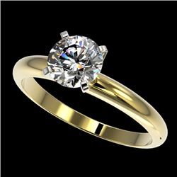 1.28 CTW Certified H-SI/I Quality Diamond Solitaire Engagement Ring 10K Yellow Gold - REF-290X9T - 3