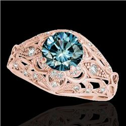 1.36 CTW Si Certified Blue Diamond Solitaire Antique Ring 10K Rose Gold - REF-172F8N - 34717