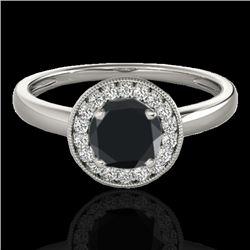 1.15 CTW Certified VS Black Diamond Solitaire Halo Ring 10K White Gold - REF-48T2M - 33466