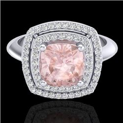 1.92 CTW Morganite & Micro VS/SI Diamond Pave Halo Ring 18K White Gold - REF-72Y5K - 20765