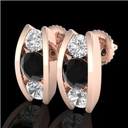 2.18 CTW Fancy Black Diamond Solitaire Art Deco Stud Earrings 18K Rose Gold - REF-180N2Y - 37766